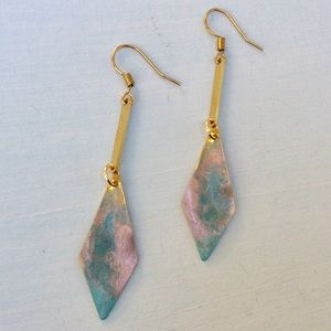 Anthropologie Jewelry - Handcrafted Patina Earrings +Anthropologie Bag NEW